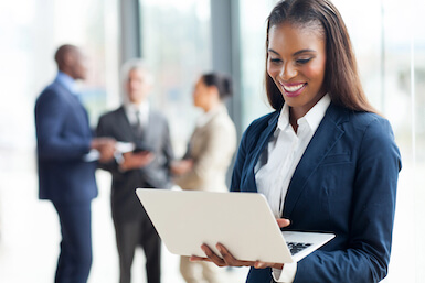 Image of black business woman with laptop